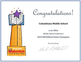 CMS:  2019 READBowl State Champions