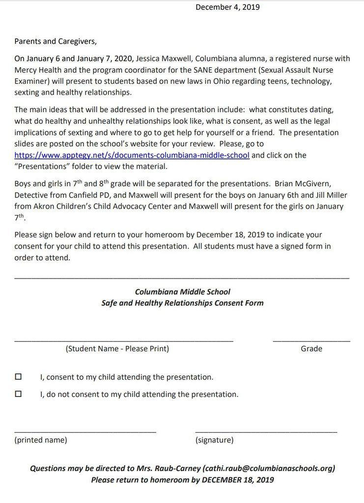 Safe Relationships Presentation Consent Form