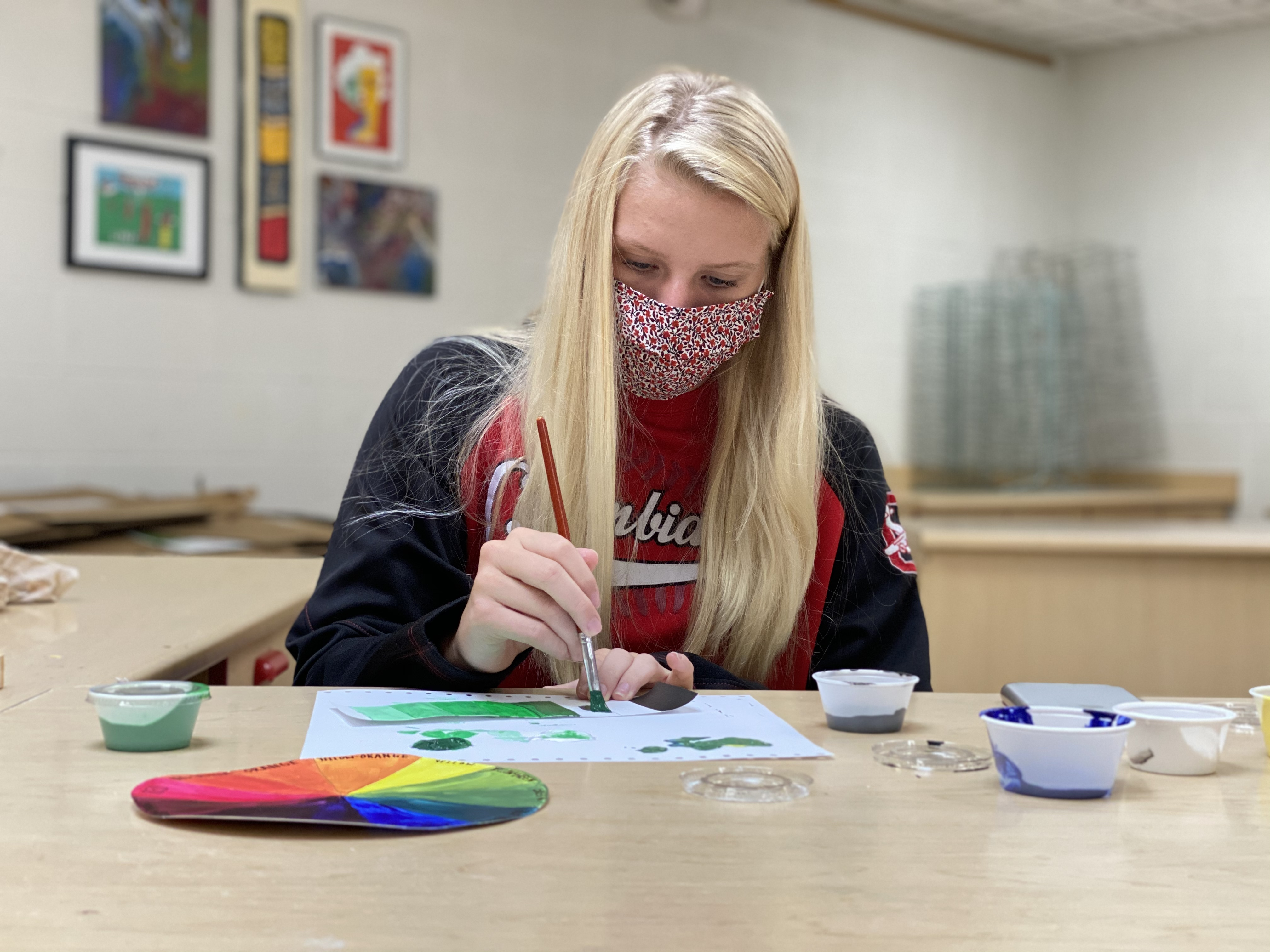 CHS student working on art assignment