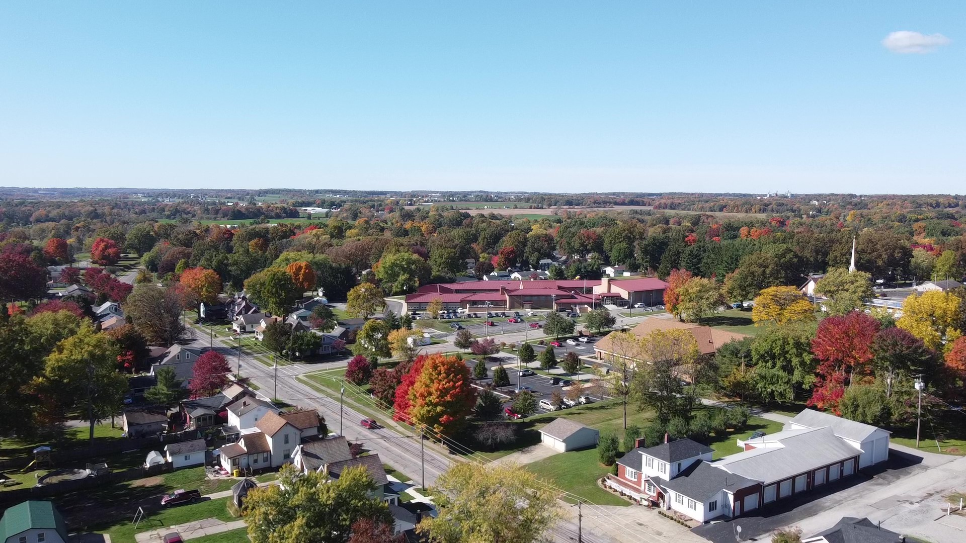 Fall Picture of Dixon from Drone
